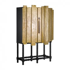 Black and Gold Patina Wooden Cabinet