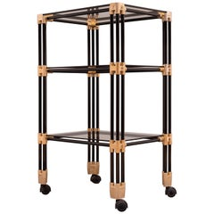 Black and Gold Three-Tier Trolley Bar Cart, 1970