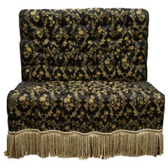 Black and Gold Tufted and Upholstered Victorian Style Banquette