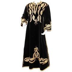 Black and Gold Velvet Bindali Vintage Moroccan Caftan Maxi Dress Kaftan