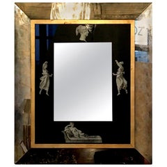Black and Gold with White Grecian Figures Neoclassical Verre Églomisé Mirror
