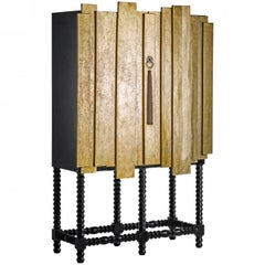 Black and Gold Wooden Cabinet