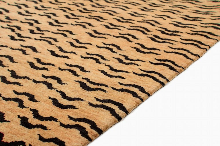 Nepalese Black and Golden Tan Wool Tibetan Tiger Area Rug For Sale