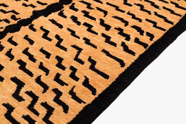 Hand-Woven Black and Golden Tan Wool Tibetan Tiger Area Rug For Sale