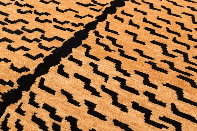 Black and Golden Tan Wool Tibetan Tiger Area Rug In New Condition For Sale In New York, NY