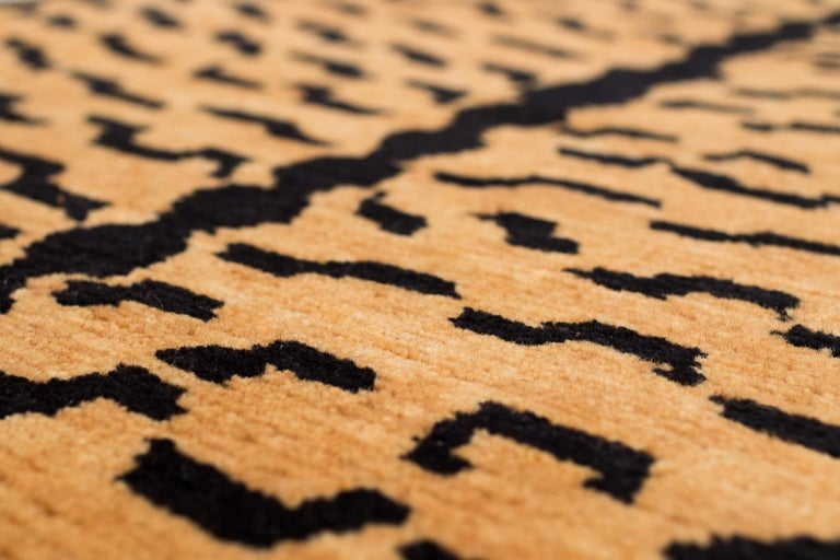 Contemporary Black and Golden Tan Wool Tibetan Tiger Area Rug For Sale