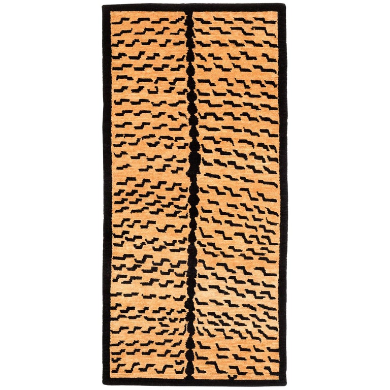 Black and Golden Tan Wool Tibetan Tiger Area Rug For Sale