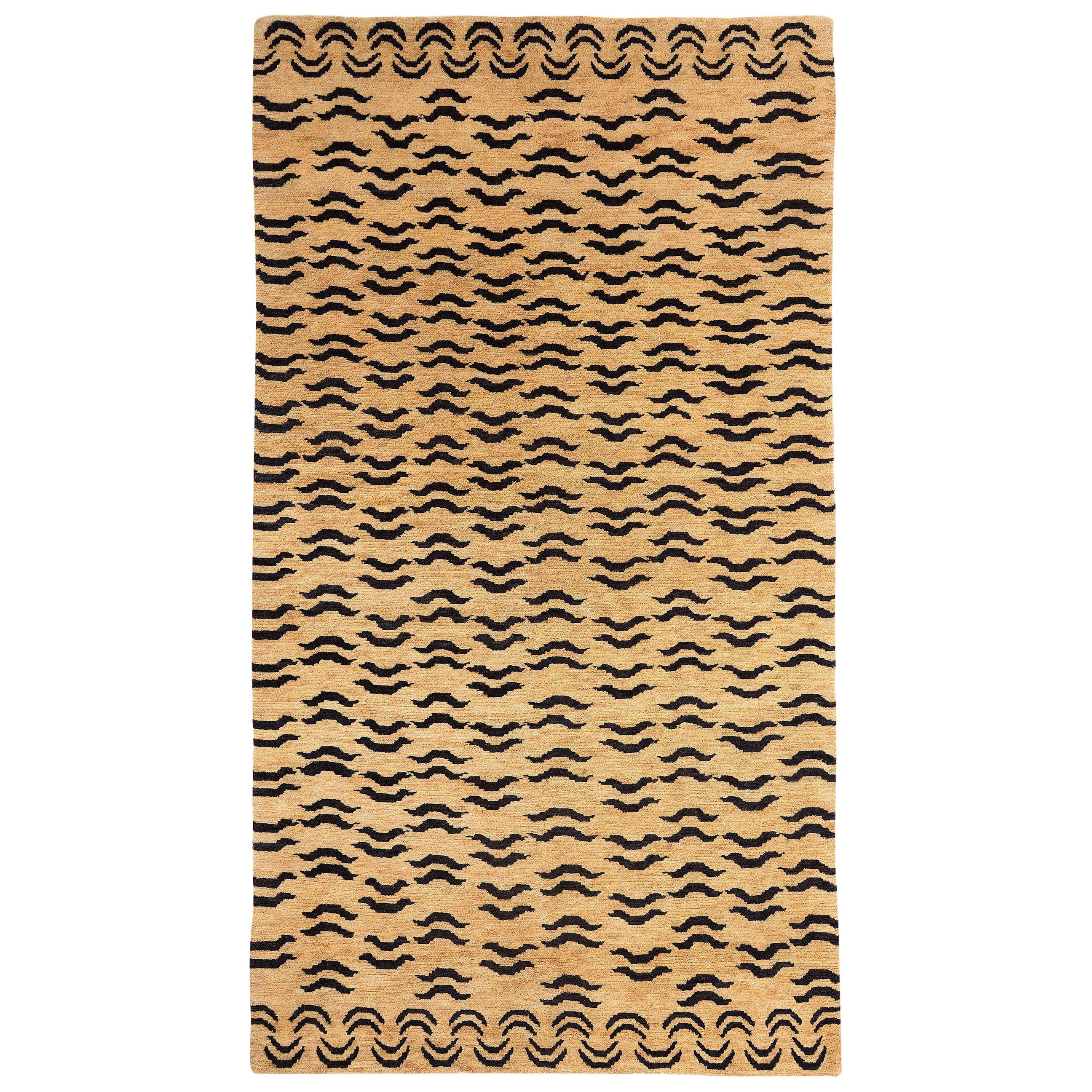 Black and Golden Tan Wool Tibetan Tiger Area Rug