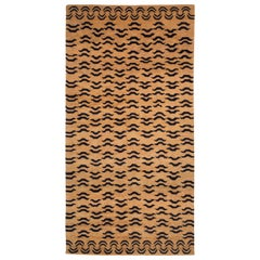 Black and Golden Tan Wool Tibetan Tiger Area Rug