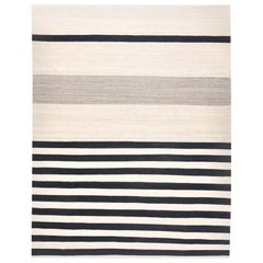 Black and Gray Colors Lines Handmade Rug