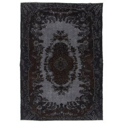6.7x9.7 Ft Black and Gray Over-Dyed Vintage Rug with High and Low Pile