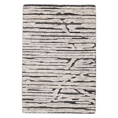 Black and Gray Textured Wool Custom Rug