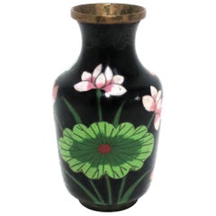 Black and Green Asian Cloisonné and Brass Vase