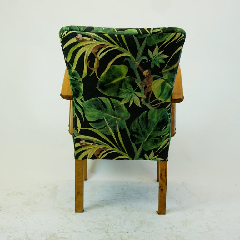 Black and Green Floral Austrian Art Deco Beechwood ...