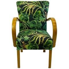 Black and Green Floral Austrian Art Deco Beechwood Armchair
