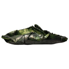 Black and Green Glazed Folded Ceramic Sculptural Bowl by Eavn Blackwell