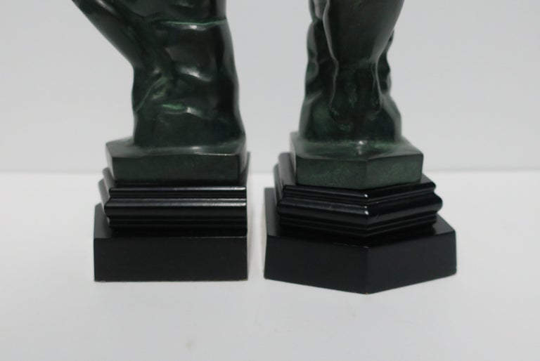 Black and Green Male Sculpture Bookends, Pair 3