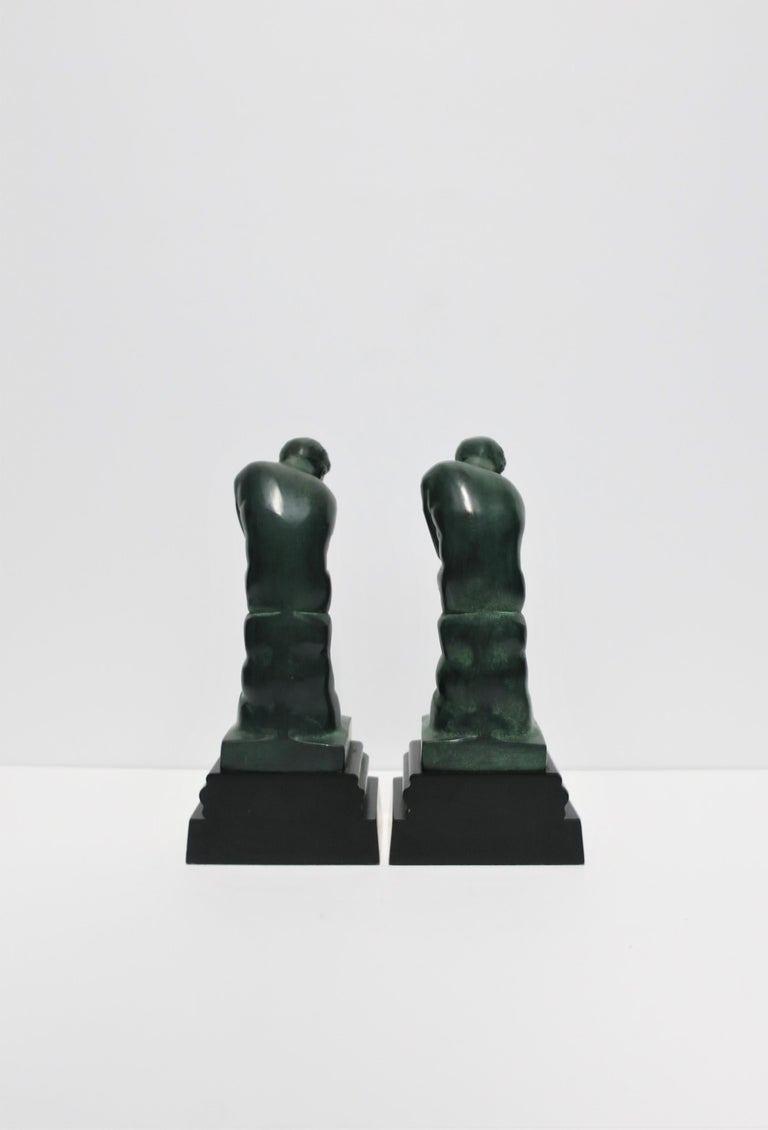 Black and Green Male Sculpture Bookends, Pair 4