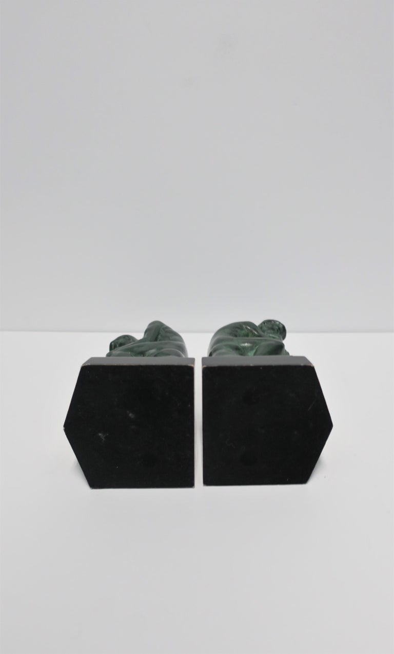 Black and Green Male Sculpture Bookends, Pair 5