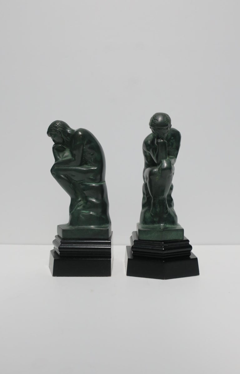 American Black and Green Male Sculpture Bookends, Pair
