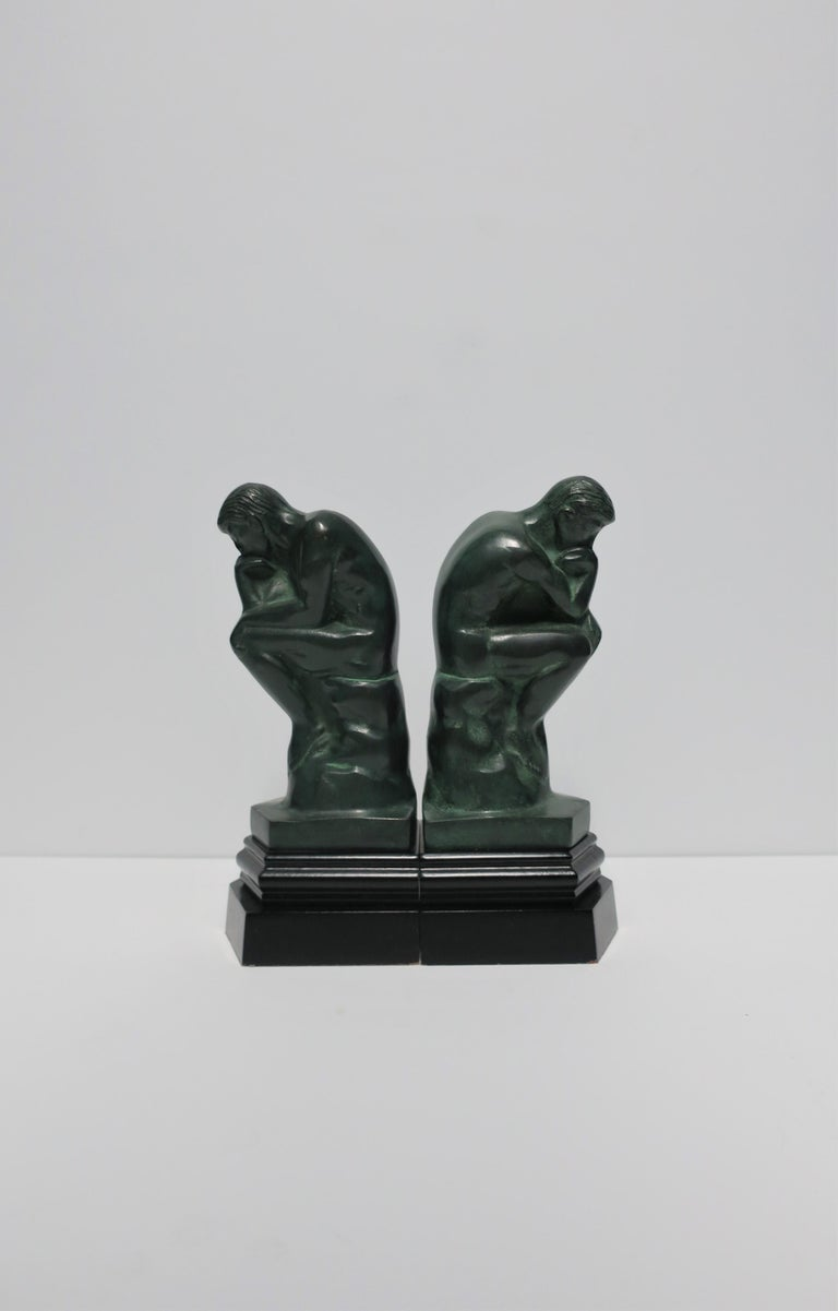 Black and Green Male Sculpture Bookends, Pair In Good Condition In New York, NY