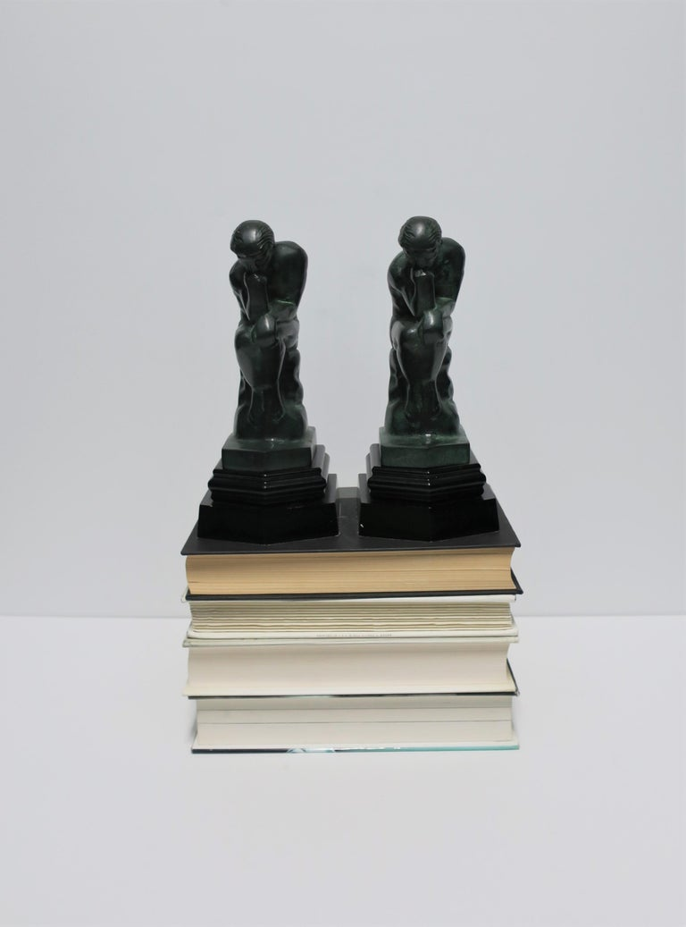 20th Century Black and Green Male Sculpture Bookends, Pair