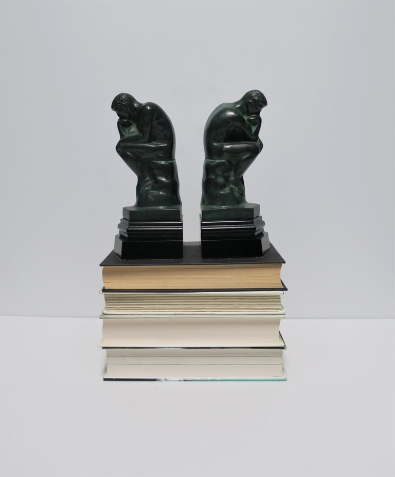 Metal Black and Green Male Sculpture Bookends, Pair