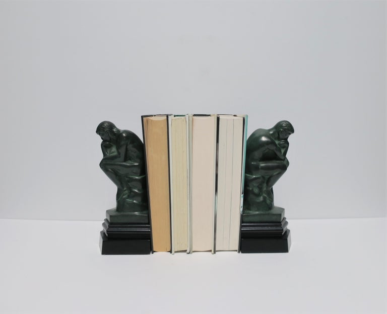Black and Green Male Sculpture Bookends, Pair 1