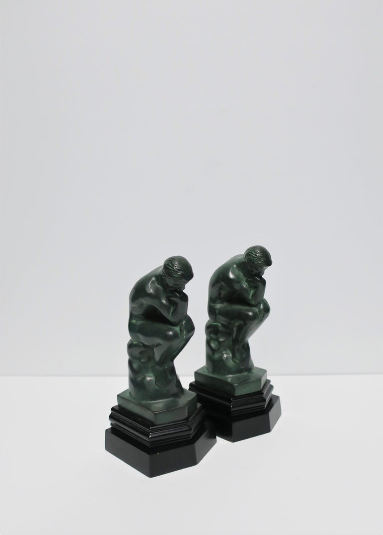 Black and Green Male Sculpture Bookends, Pair 2