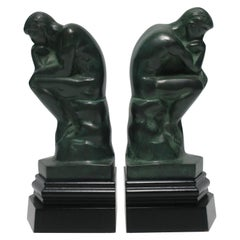 Black and Green Male Sculpture Bookends