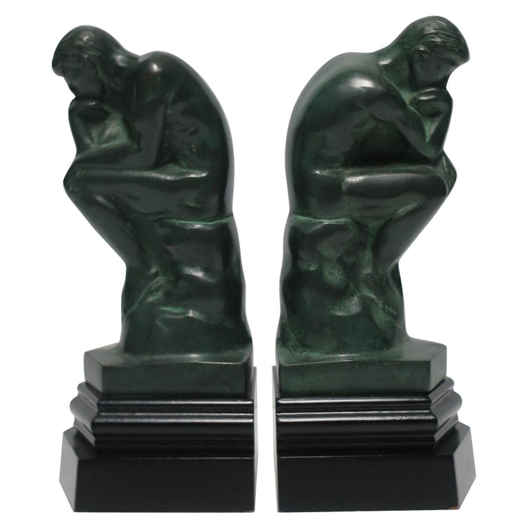 Black and Green Male Sculpture Bookends, Pair