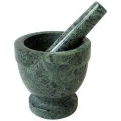 Green and Black Marble Mortar and Pedestal