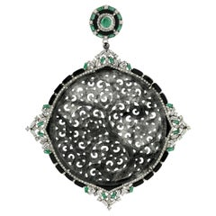 Black and Grey Shaded Carved Jade Pendant with Diamond, Emerald and Black Onyx