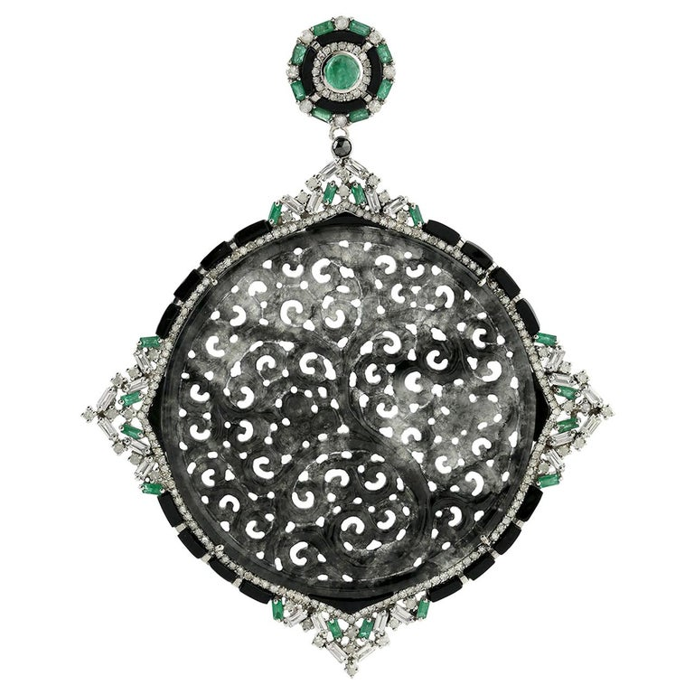 Black and Grey Shaded Carved Jade Pendant with Diamond, Emerald and Black Onyx For Sale