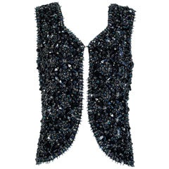 Black and Gunmetal Chandelier Bead Baroque Cutaway Vest, Hong Kong - M, 1960s
