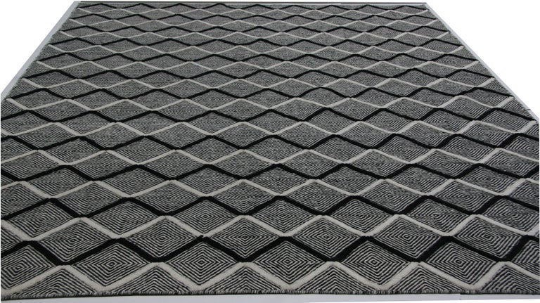 Indian Black and Ivory Diamonds High Low Area Rug For Sale