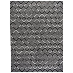 Black and Ivory Diamonds High Low Area Rug