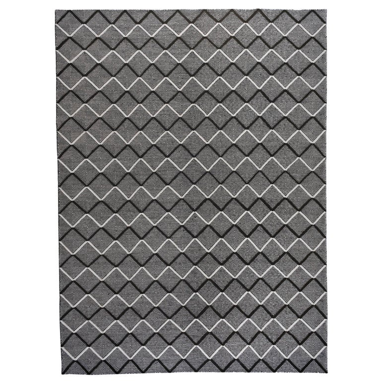 Black and Ivory Diamonds High Low Area Rug For Sale