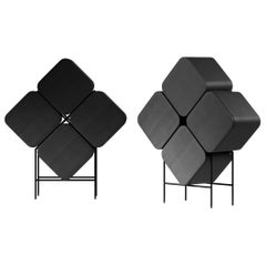 Black and Laconic Bar Cabinet Stern, in Style of Ethnic Minimalism