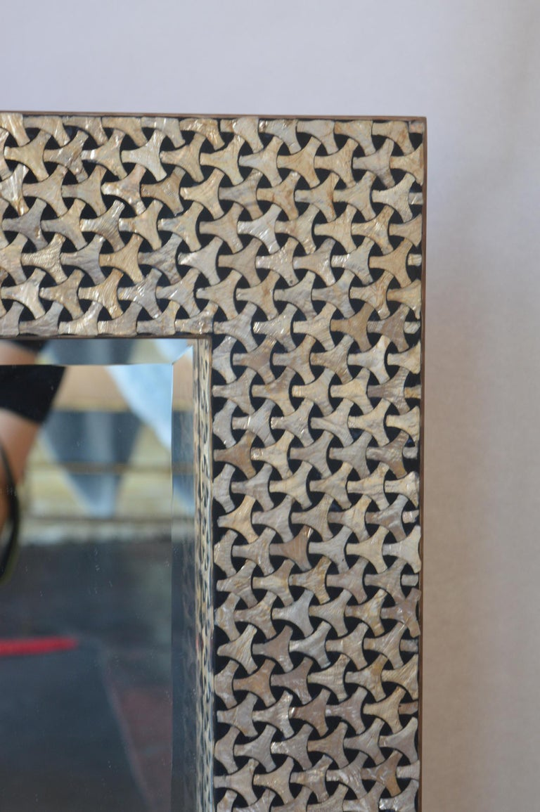 Italian Black and Mother of Pearl Framed Mirror For Sale