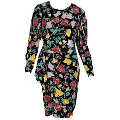 Ungaro Black And Multicolor Silk Floral-Printed Dress