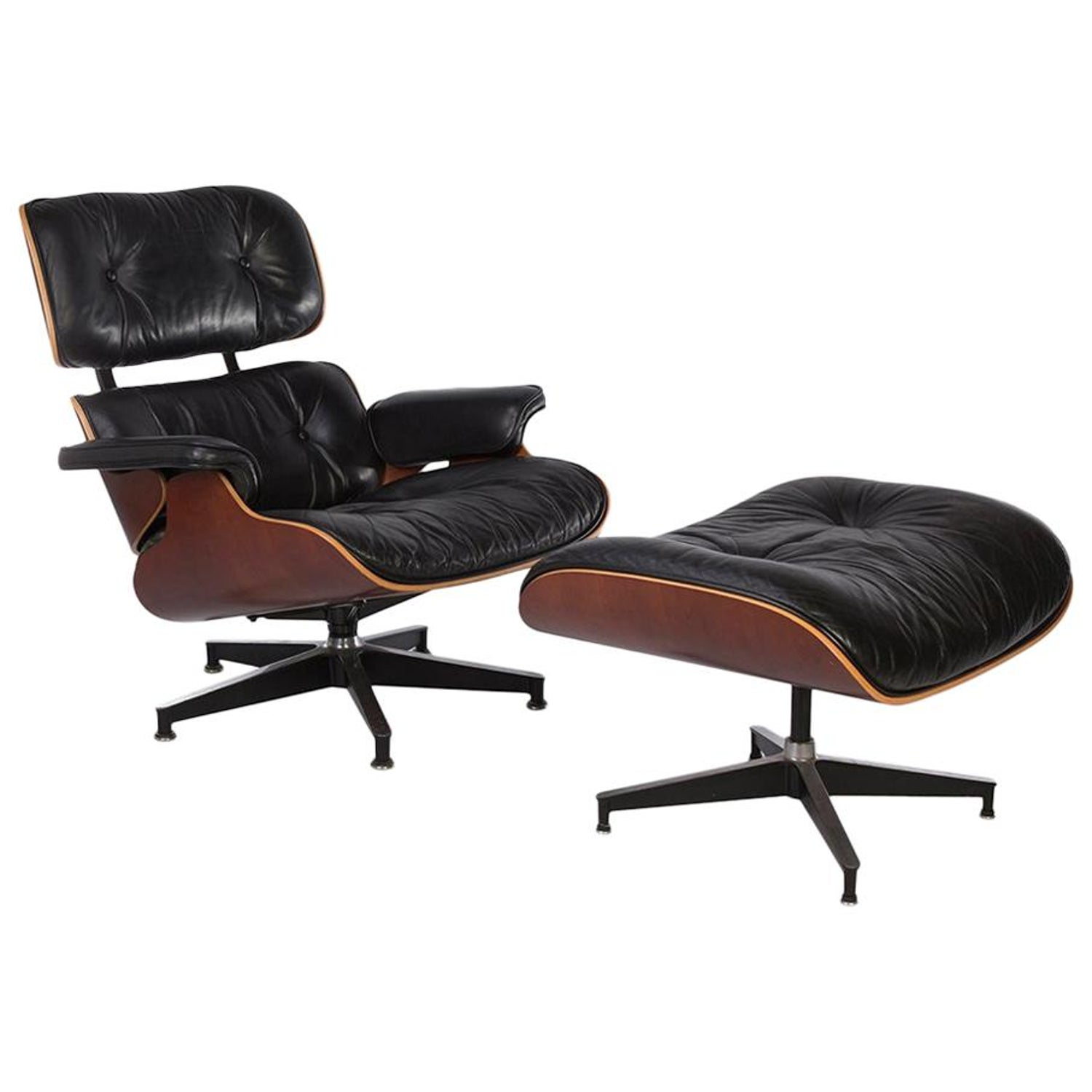 Stupendous Black And Natural Cherry Herman Miller Eames Original Lounge Chair And Ottoman Andrewgaddart Wooden Chair Designs For Living Room Andrewgaddartcom