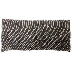 "Black and Natural ""Jakarta"" Woven Bolster Decorative Pillow"