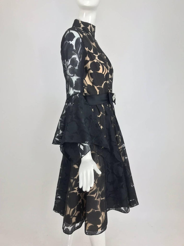 Black and nude voided organza handkerchief sleeve dress, 1960s In Excellent Condition For Sale In West Palm Beach, FL