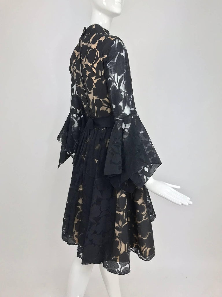 Black and nude voided organza handkerchief sleeve dress, 1960s For Sale 1
