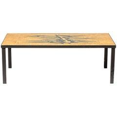 Black and Orange Low Ceramic Coffee Table Designed by Michalinka Stuart, 1970