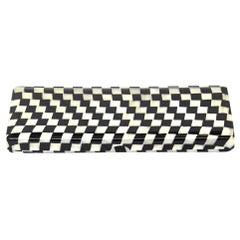 Black and Oyster White Geometric Celluloid Art Deco Box Desk Accessory