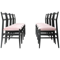 Black and Pink 'Leggera' Chairs by Gio Ponti for Cassina, 1950s, Set of 8