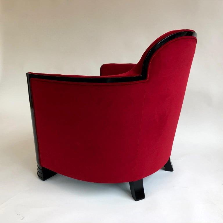 Black and Red Art Deco Modernist Pair of Armchairs, Club Chairs, France, 1930s In Good Condition For Sale In London, GB