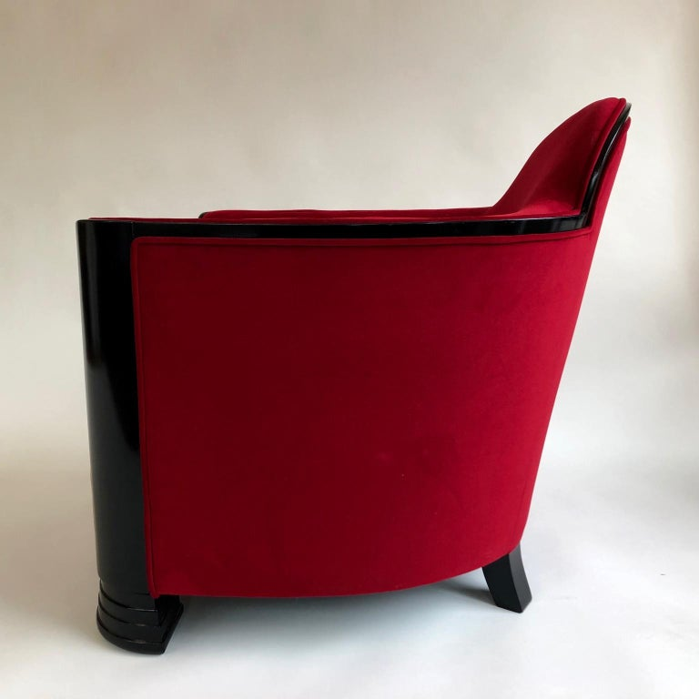 20th Century Black and Red Art Deco Modernist Pair of Armchairs, Club Chairs, France, 1930s For Sale